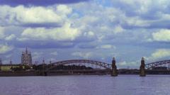Beautiful city view with Bolsheokhtinsky Bridge across Neva river Stock Footage
