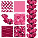 Stock Illustration of set of 6 seamless patterns with decorative pink tulips, design elements