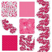Set of 6 seamless patterns with decorative cherry blossom, design elements Stock Illustration