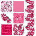 Stock Illustration of set of 6 seamless patterns with decorative cherry blossom, design elements