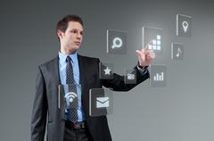 Businesman pushing button. young man touching interface. pressing technology. Stock Illustration