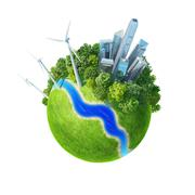 planet. city, river, park, wind turbines, and fresh green field. - stock illustration
