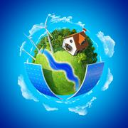 Little planet. lawn, house and trees. concept of success and happiness Stock Illustration
