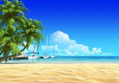 marina pier and palms on empty idyllic tropical sand beach. - stock illustration