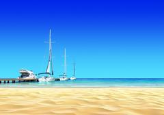 Marina pier with empty idyllic tropical sand beach. Stock Illustration