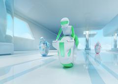 Future motobike riders team in hi-tech interior. futuristic transport concept Stock Illustration