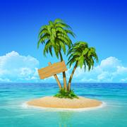 Stock Illustration of wooden sign on desert tropical island with palm tree.