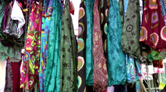 Europe Spain Balearic Ibiza hippie market es canar 121 fabrics and dresses Stock Footage