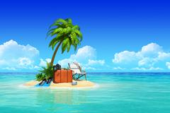 Stock Illustration of desert tropical island with palm tree, chaise lounge, suitcase.