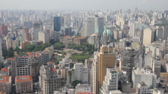 The big city of Sao Paulo and the famous Se Cathedral, Brazil - stock footage