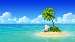 desert tropical island with palm tree and chaise lounge. concept for rest - stock illustration