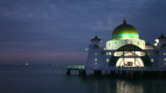 Malacca Straits Mosque with Water Reflection at Blue Hour in Malaysia 1080p Stock Footage