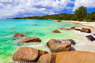 Stock Photo of Beach Anse Lazio at island Praslin, Seychelles