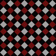 black, red and gray argyle pattern repeat background - stock illustration