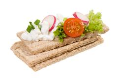 Three dry crisp bread slices with cottage cheese Stock Photos