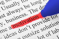 Korostuskynä ja sana motivaatio Kuvituskuvat