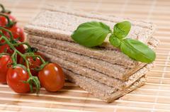 Stack of dry crisp bread slices - stock photo