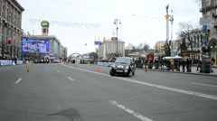 Woman sport car rally show on Kreshatik in Kiev, Ukraine. Stock Footage