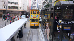 POV Hong Kong Tram ride in Wanchai district Stock Footage