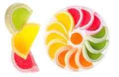 Chewy gumdrops sweets with fruit flavor Stock Photos