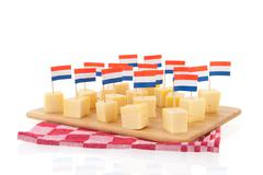 dutch cheese cubes - stock photo