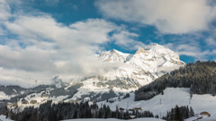 View to Swiss Alps in Adelboden, Switzerland, Time lapse - stock footage