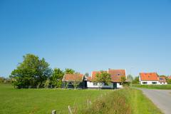 Village oosterend on dutch texel Stock Photos