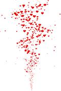 Eruption of hearts, heart icons for a Valentine's Day - stock illustration