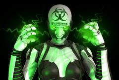 Bio warfare cyborg soldier - stock illustration