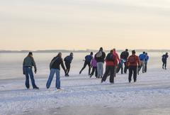 ice skaters in group - stock photo