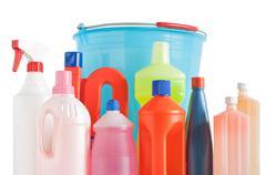 detergent bottles and bucket - stock photo