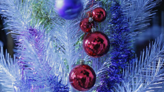 Christmas decorations - bauble on christmas tree Stock Footage