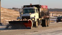 Snow Plow Salt Truck - stock footage