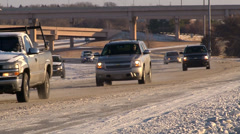 Icy Roads Winter Weather Stock Footage