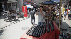People at ancient cultural market market, Beijing, china. Stock Footage