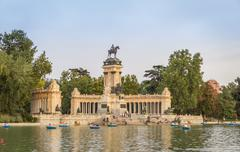 alfonso xii monument in buen retiro park, madrid - stock photo