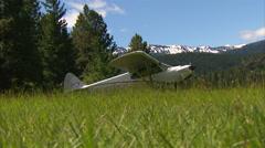 Airplane Grass Strip Stock Footage
