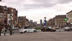 Downtown City Street Traffic Europe Stock Footage