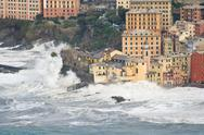 Stock Photo of Sea storm in Camogli, Italy