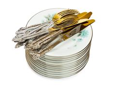 Stack of dishware Stock Photos