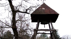 Old church vilage bell Stock Footage