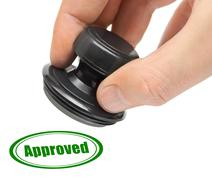 Hand and rubber stamp Approved Stock Photos