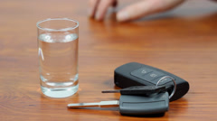 Drunk driving. Vodka and car keys. Don't Drink And Drive. Stock Footage
