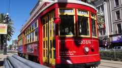 New Orleans Streetcar on Canal Street 4057 Stock Footage