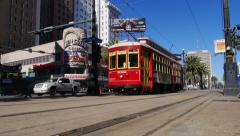 New Orleans Streetcar on Canal Street 4054 Stock Footage