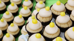 Catering cupcakes tight - stock footage