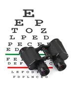 Binoculars on eyesight test chart Stock Photos