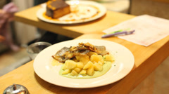 Meal ready to be served in a restaurant Stock Footage