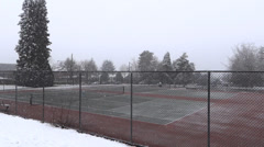 Winter Village - 11 - Tennis Court In Snowfall Stock Footage