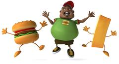Fat boy and fast food - stock illustration